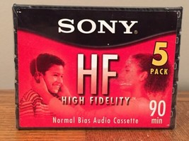 Sony High Fidelity 90 Minute Cassette Recording Tape 5 Pack Factory Sealed - $11.22