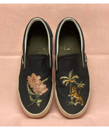 Vans slip on shoes Souvenir Jacket embroidered flowers tiger men's 6.5 w... - $22.00