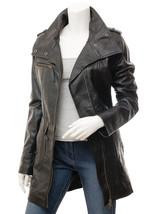 QASTAN Women's New Awesome Stylish Black Leather Trench Coat QWJ76 - $187.11+