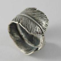 925 Silber Ring Brüniert Bandeau in Form von Daunen Made in Italy image 3