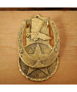 Vintage Style Gold Cast Metal Cowboy Boot Horseshoe Star Western Door Kn... - £18.42 GBP