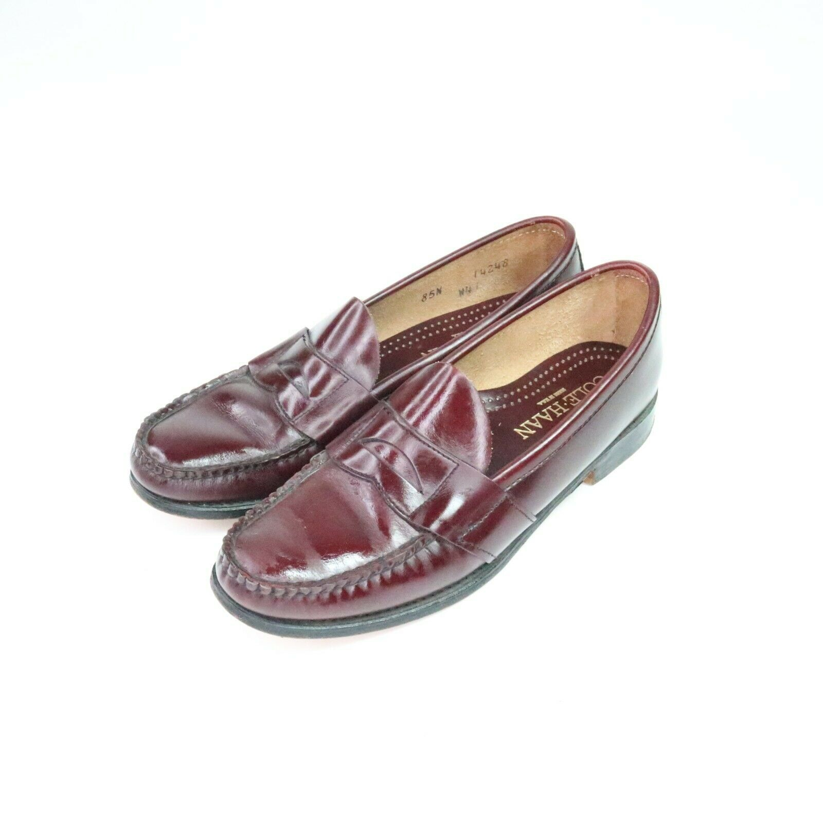 Primary image for Cole Haan Vintage Penny Loafers Dress Shoes Burgundy Made in USA Mens Size 8.5N