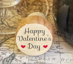 Wine Stopper, Happy Valentine's Day Handmade Wood Bottle Stopper, Specia... - $8.86
