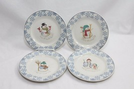 "Oneida Frosty Blue Snowflake Xmas Salad Plates 7.75"" Set of 11 - $81.33"