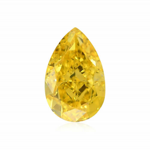 Primary image for 0.50Cts Fancy Vivid Yellow Loose Diamond Natural Color Pear Shape GIA Certified