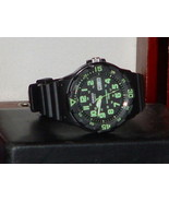 Pre Owned Casio MRW-200H Black & Green Date Analog Sports Watch - $14.85