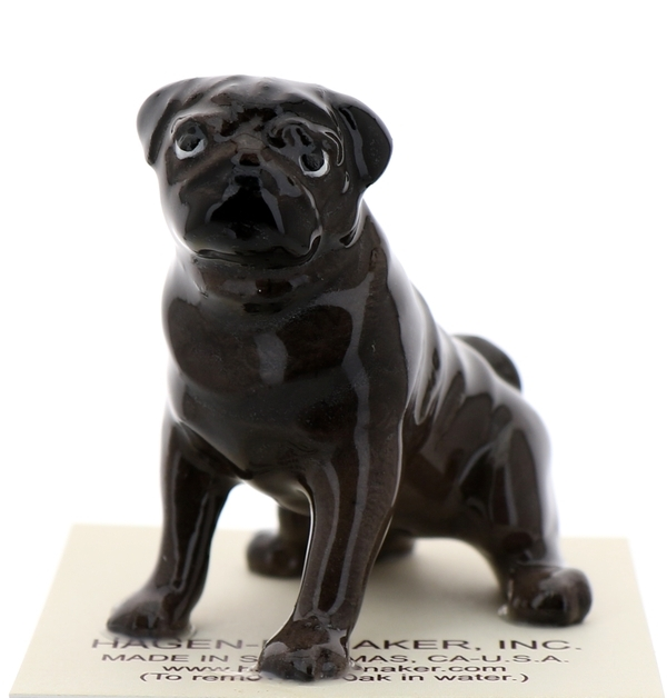 Hagen-Renaker Miniature Ceramic Dog Figurine Pug Black Mama Sitting