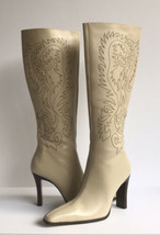 Colin Stuart Womens Embroidered Kee High Leather Boots 5M Tan Pre-owned - $32.43