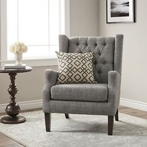 French Country Tufted Wingback Chair Grey Shabby Chic High Back Home Fur... - $366.42