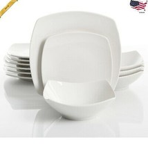 12-Piece Square Dinnerware Set Dinner Dessert Plates Bowls Ceramic White... - $48.37