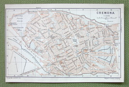 1903 MAP ORIGINAL Baedeker - ITALY Cremona City Plan - $4.73