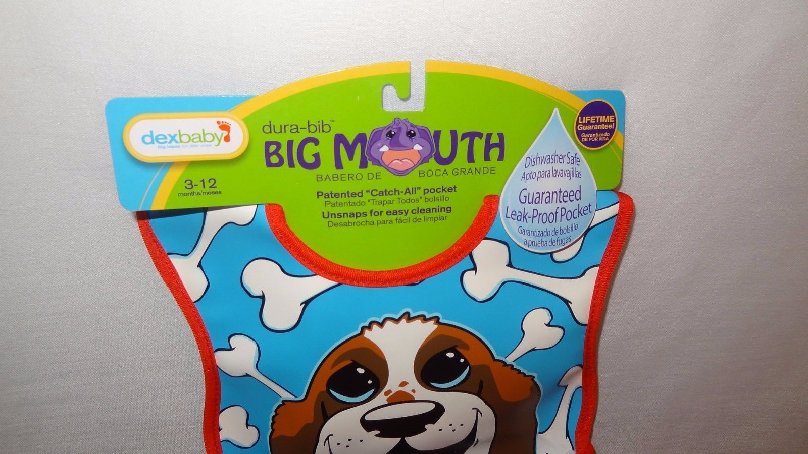 New Dex Baby Dura-Bib Dog Girl Boy Unisex 3-12 Months Puppy Bib Mouth 2014