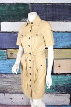 Diane Von Furstenberg DVF Beige Tan Belted Shirt Dress SIZE 4 Career Off... - $77.21