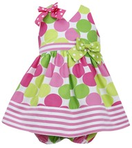 Bonnie Baby Baby Girl 12M-24M Pink Green Polka Dot Stripe Border Halter Dress