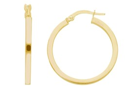 18K YELLOW GOLD CIRCLE EARRINGS DIAMETER 20 MM WITH SQUARE TUBE, MADE IN ITALY image 1