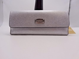 MICHAEL KORS JET SET TRAVEL SAFFIANO LEATHER FLAT WALLET SILVER New with... - $65.14