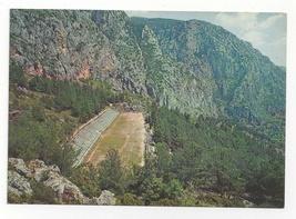 Greece Delphi Stadium Aerial View Greek Ruins Archaelogy Vtg Postcard 4X6 - $6.49