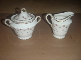 Theodore Haviland New York Made America Rosebuds Wilton Creamer & Sugar Bowl - $28.04
