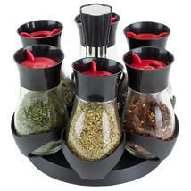 Contemporary Gourmet Revolving 6-Jar Spice Rack, Black EBY56286 - $26.72