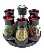Contemporary Gourmet Revolving 6-Jar Spice Rack, Black EBY56286 - £19.31 GBP