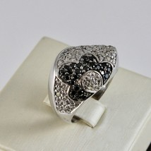 Silver Ring 925 with Flower of Zircon Cubic White and Black image 2