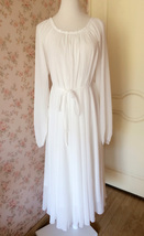 WHITE Chiffon Maxi Beach Holiday Dress long sleeve Plus Size Maternity Dresses image 3