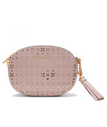 Michael Kors Ginny Medium Leather Perforated Messenger Crossbody Soft Pi... - $135.43