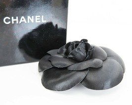 Authentic CHANEL Black Fabric Camellia Flower Design Brooch Pin #35592 - $229.00