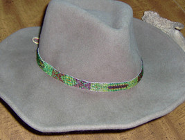 Custom Made Multicolored  Glass Bead  Hat-Band with  Genuine Tan Leather... - $14.95