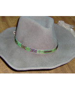 American Made! Multicolored  Glass Bead  Hat-Band with  Genuine Tan Leat... - $14.95
