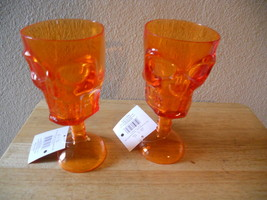 NEW Hard Plastic Orange Skeleton Goblet set of 2 FUN - $8.56