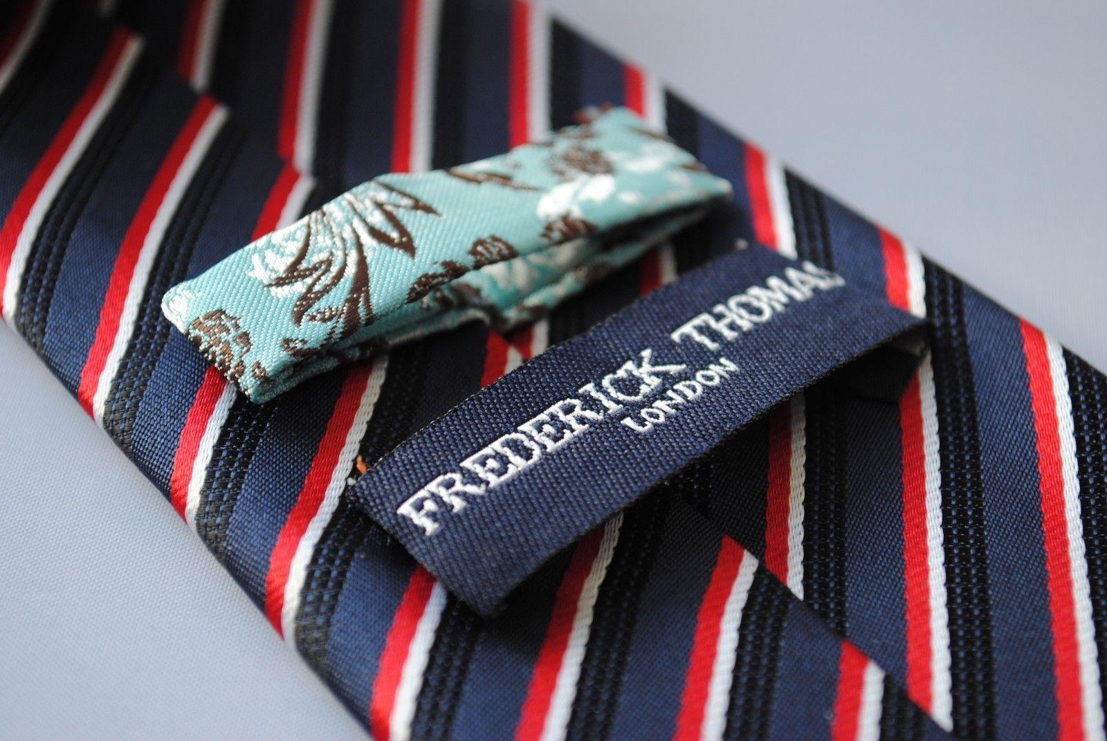 Azul Marino Negro y rojo rayas hombre POLE DANCE Corbata Frederick Thomas ft729