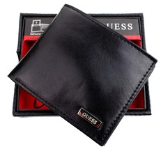 New Guess Men's Leather Credit Card Id Wallet Passcase Bifold Black 31GU22X018