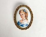 Signed Goldette vintage LIMOGES portrait cameo brooch gold tone Victorian style