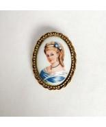Signed Goldette vintage LIMOGES portrait cameo brooch gold tone Victorian style  - £23.28 GBP
