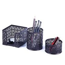 Crystallove Metal Mesh Office Supplies Desktop Organizer Set of 3pcs-Pen... - $13.81