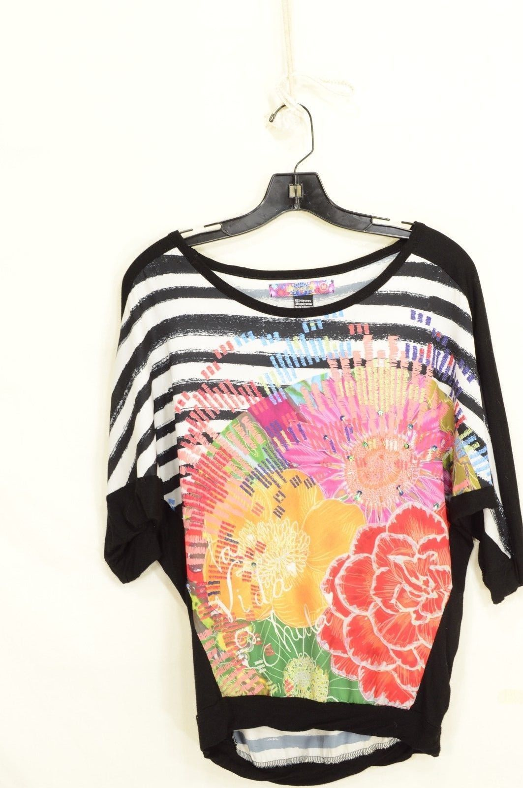 1 Desigual top SZ M black white stripes + colorful front short sleeve sequins