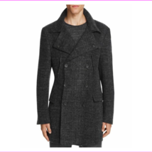 $1195.00 Hickey Freeman Felted Wool Houndstooth Topcoat Charcoal  Size 42 - $649.01