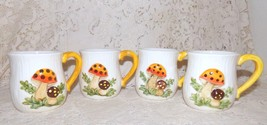 Vintage Ceramic Mushroom Mugs w/Stand Set of 4 1970's - $19.99