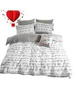 BuLuTu Love Letters Print Modern Men Duvet Cover Set King White Gray 100... - $77.77