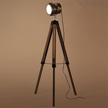 Vintage Tripod Floor Lamp Industrial Retro Wooden Standing Reading Lamp Light Wi - $221.48