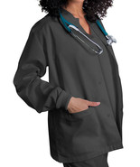 Pewter Scrub Jacket XS Adar Uniforms Warm Up Top Round Neck Ring Snap New - $19.37