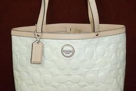 Coach Patent Leather Leather Trim Handbag Purse Beige/Tan  F49826 Bruised - $34.39