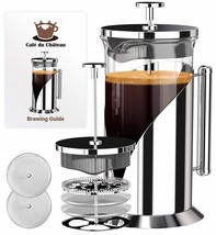 French Press Coffee Maker 8 cup, 34 oz With 4 Level Filtration System, 3... - £29.90 GBP