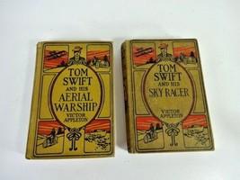 2 Books Victor Appleton Tom Swift & His Sky Racer Aerial  Warship 1911-1915 - $14.58