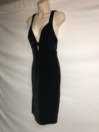 Express Dress Womens Size 4 Black Velour Sexy Plunge NWD image 3