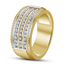 Mens Round White Simulated Diamond Pure 925 Sterling Silver Wedding Ban... - $82.99