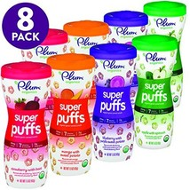 Plum Organics Super Puffs Variety Pack, 1.5 Ounce Pack of 8