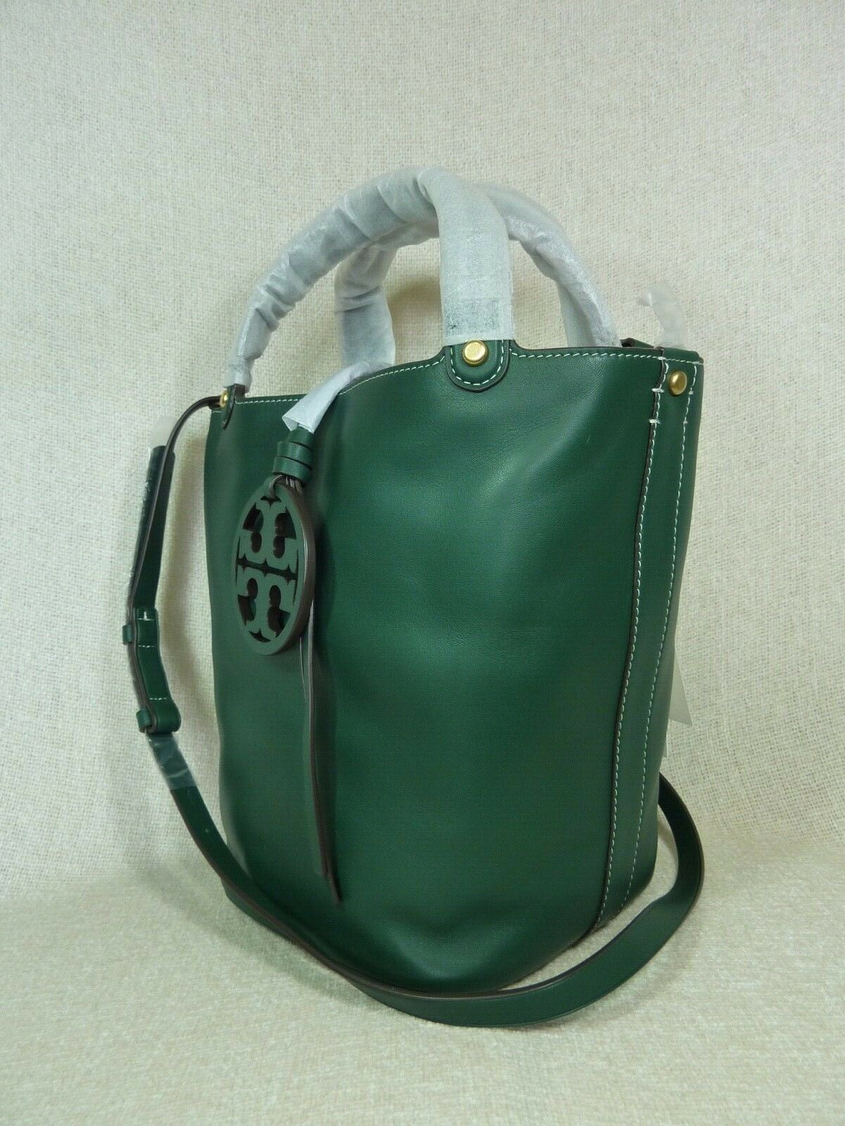 NWT Tory Burch Malachite Green Miller Bucket Tote image 3