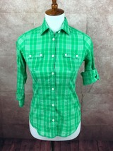 American Eagle Outfitters Favorite Shirt 3/4 Sleeve Green Top Shirt Wome... - $8.58